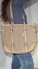 COACH Authentic $398 GALLERY Large Signature & Leather Book Tote Bag Purse EUC!