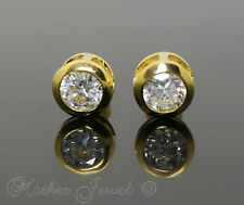 18CT YELLOW GOLD PL BEZEL SET 4CT SIMULATED DIAMOND MENS WOMENS STUD EARRINGS