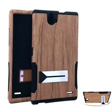 For ZTE Grand X Max / Max+ Z787 HARD&SOFT RUBBER HYBRID SKIN CASE BROWN WOOD OAK