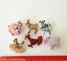 Farm animals pink pig cow brown goat chook Novelty Dress It Up Buttons 3991