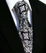 NEW Mens Tie Black Silver Pink Dotted Paisley Necktie Gift Floral Silk Wedding
