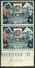 SAN MARINO - 1947 - 100° del 1° francobollo degli Stati Uniti - centro spostato