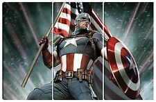 Quadro moderno CAPITAN AMERICA 80X120 supereroe marvel comics cinema new york