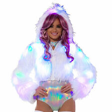 J VALENTINE White Fur Light Up LED Battery Rave Ski Bunny Snow Hood Coat Jacket