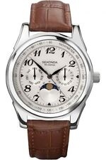 Sekonda Mens Moon Phase Watch White  Dial Brown Leather Strap SK3503