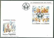 TOGO 2014 CANONIZATION OF POPE JOHN PAUL II SHEET FIRST DAY COVER