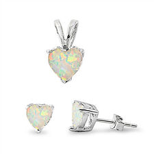 2 carat Heart Cut White Opal Earring & Pendant Set .925 Sterling Silver