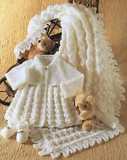 """BABY OR DOLLS CLOTHES KNITTING PATTERN 14-18"""" SHAWL TINY COAT & BOOTEES"""
