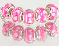 10PCS SILVER MURANO LAMPWORK charm beads fit European Bracelet wholesale BB157