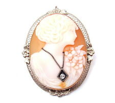 VINTAGE ESTATE 14k WHITE GOLD CAMEO PIN PENDANT 6.3g