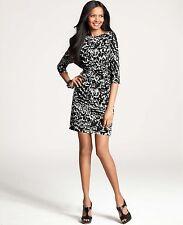 Brand New Ann Taylor Graphic Sonnet Print Tie Waist Dress Color Black/White Sz S
