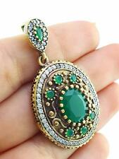 HANDMADE VICTORIAN JEWELRY 925 STERLING SILVER EMERALD TOPAZ PENDANT P1493