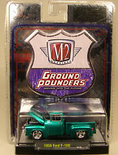 M2MACHINES 1:64 SCALE DIECAST METAL GREEN 1956 FORD F-100 TRUCK GROUND POUNDER