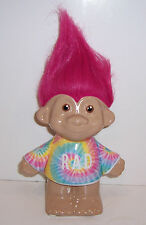 "TROLLS ""RAD"" CERAMIC Piggy BANK Money Coin Holder Rainbow Tie-Dye Pink Hair NEW!"