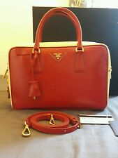 Prada BL0095 Saffiano Vernic  lux Leather Red & cream