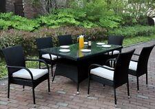 Patio Garden Outdoor Dining Set Glass Table Arm Chairs PE Wicker in Black