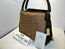 Coach Edie 31 Shoulder Bag in Signature Jacquard & Leather Khaki & Brown 36466