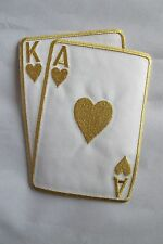 """#2265L 5-1/2"""" Gold Poker Card Ace & King Of Hearts Embroidery Applique Patch"""