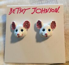 Betsey Johnson Princess Charming Mouse  Earrings Crystal Accents B10889-E01 NWT