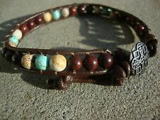 Men's Multi Gemstone 6mm Bead Bracelet Brown Leather Wrap Bracelet handmade USA