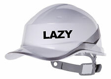 2X LAZY Hard Hat vinyl decal. Warehouse sticker transfer CUSTOM COLOUR & FONT
