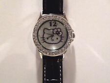 HELLO KITTY SILVER WATCH ROUND PEARL CRYSTAL DIAL BLACK LEATHER BAND!