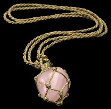 Macrame Necklace Custom Real Rose Quartz Authentic Collector Necklace 1RT