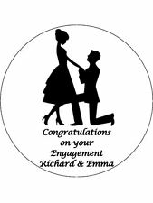 "7.5"" Engagement Celebration Personalised PREMIUM RICE PAPER Edible Cake Topper"