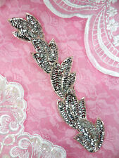 """FS511 Applique Silver Sequin Beaded Sewing Crafts Patch Motif 8.25"""""""