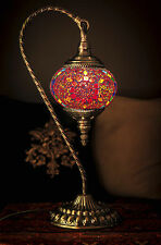 TURKISH MOROCCAN MOSAIC GLASS LAMP SWAN COLORFUL TABLE LIGHT FROM AU