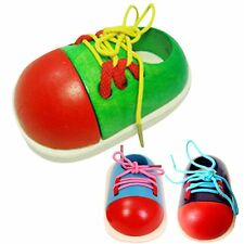 1pcs Toddler Baby Kids Wooden Lacing Shoe Toy Educational Developmental Toy Gift