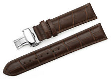 Genuine Calf Leather Watch Band Croco Strap Double Push Deployant Clasp 14-24 mm