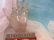 Vintage Tiffany & Co. Bow Ribbon Sterling Silver Earrings 2.25 Large