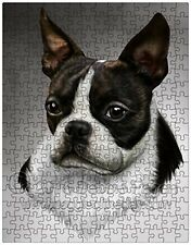 Boston Terrier Dog Art Portrait Print 252 Pc. Puzzle with Photo Tin NWT