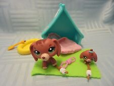 LPS Littlest Pet Shop Lot 3601 3602 Red Brown Dachshund Mommy + Baby Dog Camping