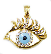 Beautiful 18K Real Gold Filled CZ Women's Evil Eye Pendant + Free necklace