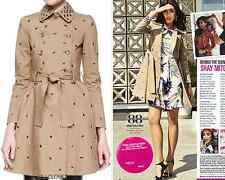 Valentino Grommet Detail Double Breasted Flared Trench Coat Sz 6 NWT $1395