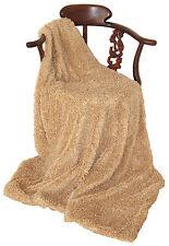 Ultra Soft Faux Fur Shag Throw Blanket Beige Camel Machine Washable NWT
