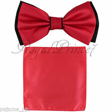 Wedding Black RED Pre-tied Bow tie and RED Pocket Square Hankie Two Layers