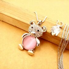 Wholesale Silver-plated Crystal Bears Pendant chain charm long necklace LP596