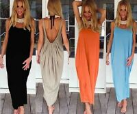 SEXY Women New Boho Loose Backless Holiday Ladies Beach Evening Long Maxi DRESS