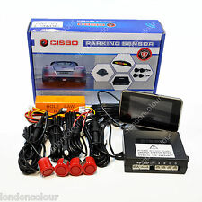 CISBO BRIGHT RED 18mm REAR REVERSE PARKING SENSORS VOICE ALERT LED DISPLAY KIT