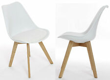 Charles Jacobs Dining Kitchen Office Chairs x2 Wooden Oak Furniture White New