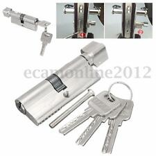 Home Safety Cylinder Thumb Turn Cylinder 70mm Door Lock Aluminum Finish + 3 Keys