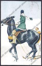 MARCELLO DUDOVICH ART DECO - DONNINA 11 CAVALLO - LADY with HORSE Cartolina 1917