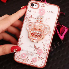 Bling Rhinestone Diamond Flower Cute Heart Ring Stand Crystal Clear Case Cover