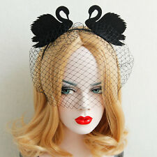 Black Swan Headband with Lace Veil Mask  Cosplay Lady Masquerade Ball Party New