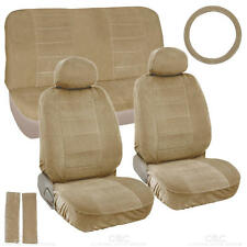 Beige Full Cloth Encore style 3mm Premium Car Seat Covers Low Back 9 pc
