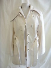 Ladies Coat - Zelia, size 42 EUR, UK size 14, cream, 60% wool, belted - 2186