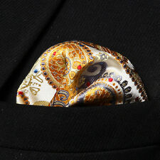 HP706Y Yellow Gray Paisley Men Silk Party Handkerchief Pocket Square Hanky